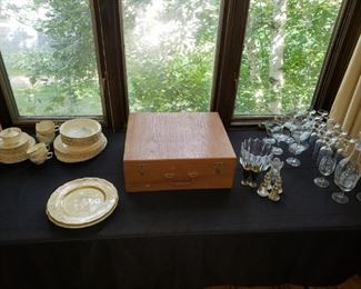 China, flatware set in case, crystal.