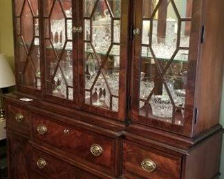 Broyhill 100th Anniversary Flame Mahogany China Cabinet Mirrored and Lighted