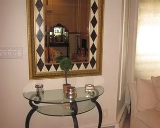 Ornate Mirrors To Choose From  with Glass & Metal Half Mood Accent Table With Glass Shelf