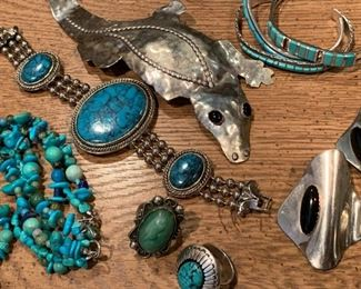 Sterling silver vintage southwestern and Mexican jewelry.