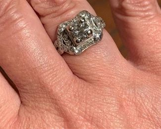 .83 carat transitional cut in 1930's setting.