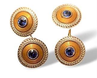 Men's 14K gold and sapphire cufflinks.
