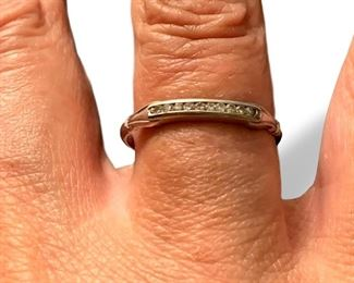 Platinum setting stackable diamond ring.