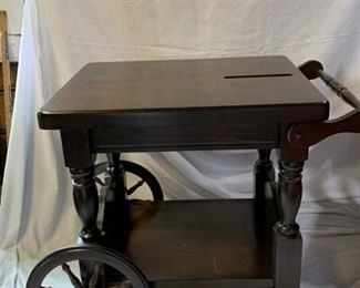 Wooden cart table and wooden Stool https://ctbids.com/#!/description/share/208641