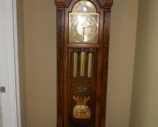 "Howard Miller Grandfather Clock 21"" W X 80"" T. Not working."