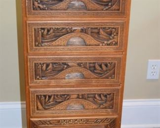 "14"" W X 15"" D X 37"" T Hand Carved Chinese Chest"