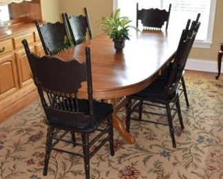 "Oak Dining Table 41"" X 94"" with 3 Leafs, 6 Black Oak High Back Chairs"