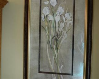 "Framed Decorator Floral Art. 24"" W X 41"" T. Pair of these."
