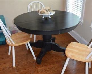 "48"" Round Oak Pedestal Table Painted Black"