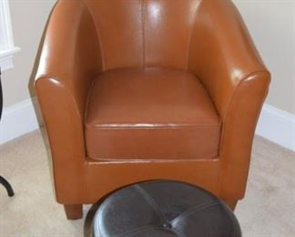 "Leather Barrel Chairs 30"" X 32"" X 26"". Two of These"