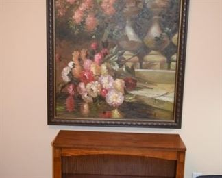 Small Oak Bookcase and Oil Floral Painting