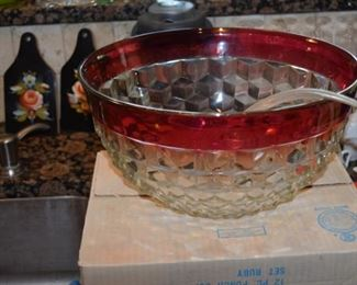 Punch Bowl and Glasses