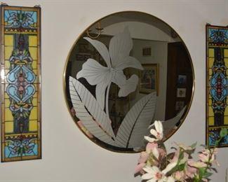 Stained Glass Windows - Antique, Round Deco Mirror
