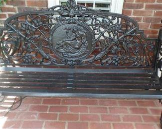 """cast iron Victorian garden bench 7' long  20"""" deep 38"""" high, $2,200 each"""