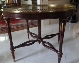 """37"""" round marble top with bronze galley foyer table. 33"""" high.."""