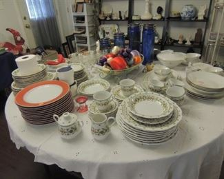 fitz and floyd red trim plates  sango china country flower and  bavarian 4 place settings with  serving dishes