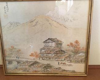 Japanese watercolor on silk
