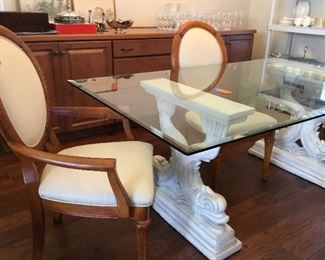 Glass-top Dining table with 4 chairs