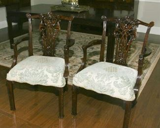 MATCHING CHIPPENDALE ARM CHAIRS