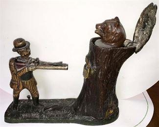 ORIGINAL TEDDY AND THE BEAR CAST IRON COIN BANK