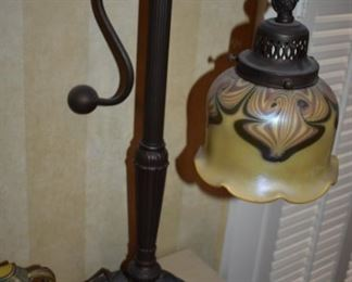 Beautiful Art Nouveau Bronze Desk Lamp and with Gorgeous Shade