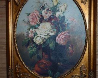 Beautiful Gold Gild Framed Oil Painting of Roses in Vase