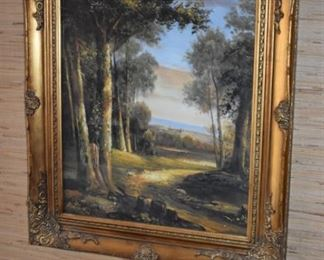 """Gorgeous Antique Gold Gilded Frame surround this Beautiful  """"Turn of the Century"""" Painting"""