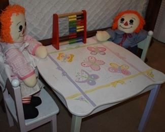 Collectible Raggedy Ann and Andy sitting at Childs Table waiting for Tea and enjoying leaning math with a Vintage Toy Abacus