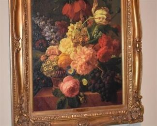 """Gorgeously Custom Framed with Ornate Gold Gild surrounds this Beautiful Oil Painting from the  Carlyle Collection, entitled """"Flowers and Fruit"""" (circa 1795) faux painting of Jan Frans van Dael, 1764 - 1840 ."""