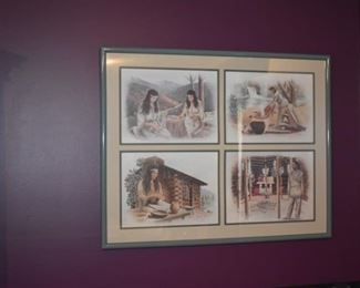 Framed Scenes of American Indians, all signed.