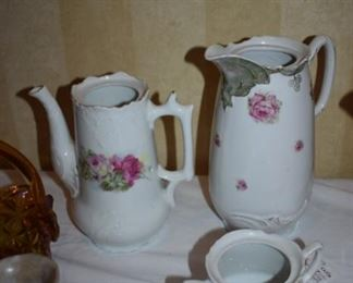 Antique Porcelain Coffee/Chocolate Pots and Double Handled Sugar Bowl all without Lids.