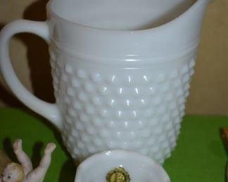 Antique Milk Glass Hobnail Pitcher and Vase