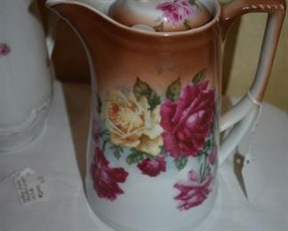 Gorgeous Hand Painted Antique Chocolate Pot