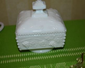 Antique Milk Glass Compote with Lid and Grape and Cable Design