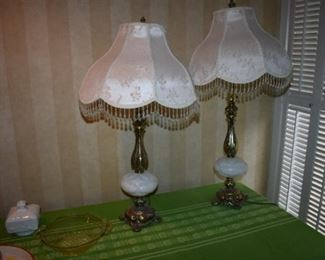 Pair of Beautiful Table Lamps with Brass and Milk Glass Bases and Matching Fringed Lamp Shades in Fantastic Condition!