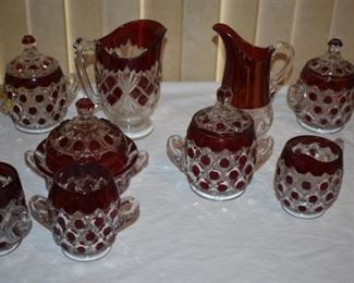 Antique Early American Pattern Glass featuring rare examples of  Ruby Red Stained Bullseye Daisy Newport Glass