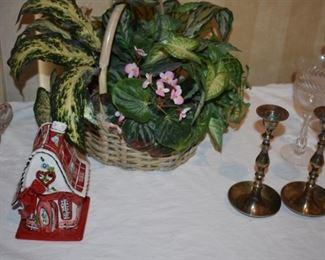 Nice Floral Arrangement, Brass Candlesticks and Porcelain Whimsical House