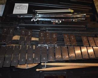Vintage Xylophone in Case with Stand, Drum Head, Sticks, etc.