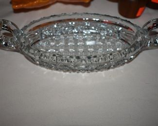 Cut Glass Double Handled Oval Dish