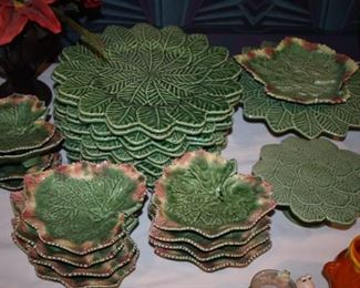 Gorgeous set of Bordallo Pinheiro Green Cabbage China in Awesome Condition!