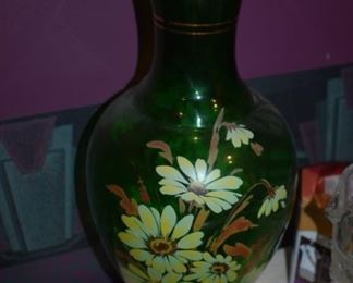 Large Handpainted Depression Era Green Glass Vase