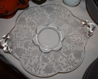 Lovely Depression Era scalloped edge, double handled and Beautifully Etched Serving Platter