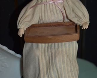Antique Porcelain Baby Doll in Carved Wooden High Chair