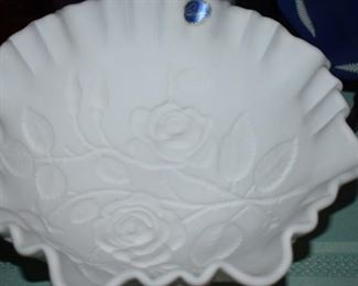 Antique Ruffled edge Milk Glass Bowl with Flower pattern in Relief