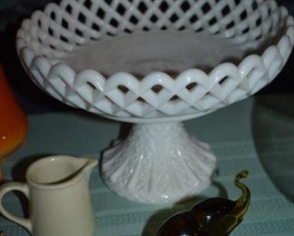 Antique Milk Glass Pierced Edge Pedestal Fruit Bowl