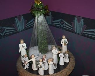 LED Lighted Christmas Tree surrounded by a Lovely Family of Willow Tree Figurines