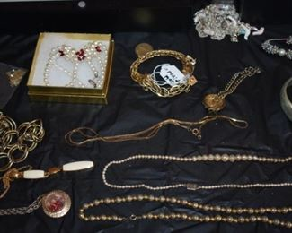 Huge Collection of Vintage Jewelry including Pocket Watches, Watches, Beautiful Vintage Art Nouveau Sterling Silver Brooches (large collection!),  Necklaces, Bracelets, Bangles, Earrings, Rings, and More!!!