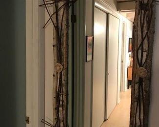 Birch bark hall mirror