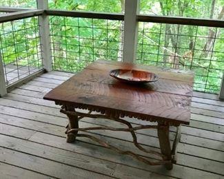 Custom wood and vine cocktail table