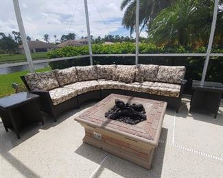 Sectional Patio Furniture & 2 End Tables. Vinyl Wicker. Fire Pit is attached and not for sale.